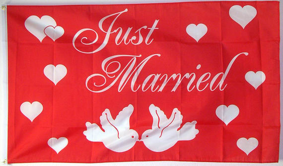 Bild von Just Married Flagge-Fahne Just Married Flagge-Nationalflagge, Flaggen und Fahnen kaufen, im Shop bestellen