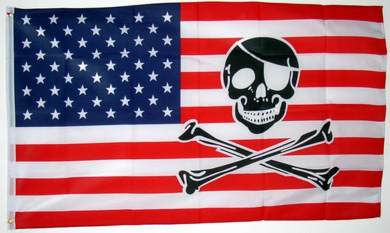 USA mit TotenkopfFahne USA mit TotenkopfNationalflagge Flaggen
