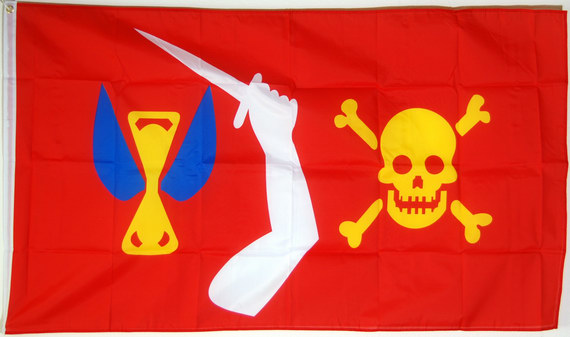 Bild von Christopher Moodys Piratenflagge /  Red Jolly Roger-Fahne Christopher Moodys Piratenflagge /  Red Jolly Roger-Nationalflagge, Flaggen und Fahnen kaufen, im Shop bestellen