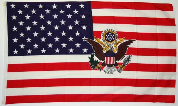 flagge usa mit siegel fahne flagge usa mit siegel nationalflagge flaggen und fahnen kaufen im. Black Bedroom Furniture Sets. Home Design Ideas
