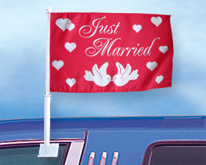 Bild von Autoflagge Just Married-Fahne Autoflagge Just Married-Nationalflagge, Flaggen und Fahnen kaufen, im Shop bestellen